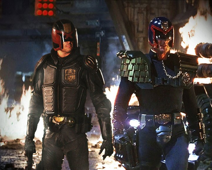 At left is Karl Urban's take of Judge Dredd. At right, Sly rocks his futuristic costume of Dredd released in 1995.