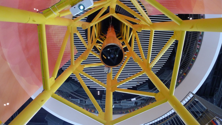 This 350 mm vacuum solar telescope has been opened to the public and also allows researchers to further their study of the sun and other solar activities. This telescope gives guests a real time view of the sun at the center of the exhibition hall.