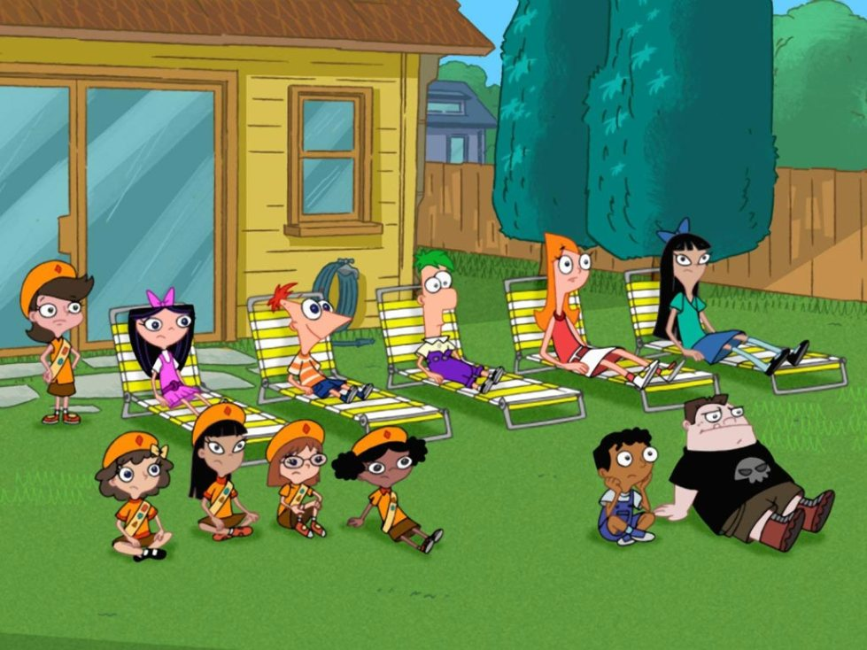 PATIENCE IS A VIRTUE. The gang waits around for P&F's invention to work.