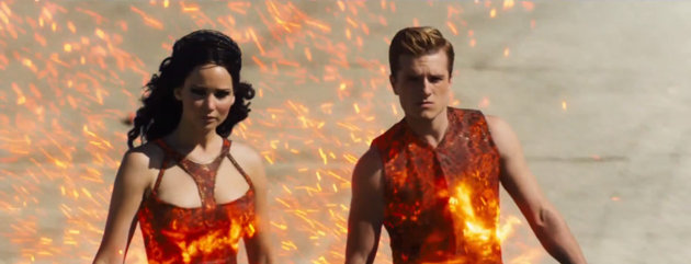 SMOLDERING, Katniss and Peeta's flaming costumes are load better than their get up in Hunger Games.