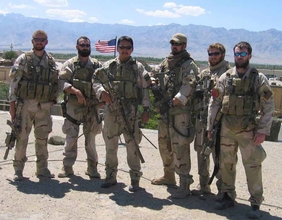 THE REAL DEAL. The actual members of Seal Team 10. The lone survivor, Marcus Luttrell, is the third from right.